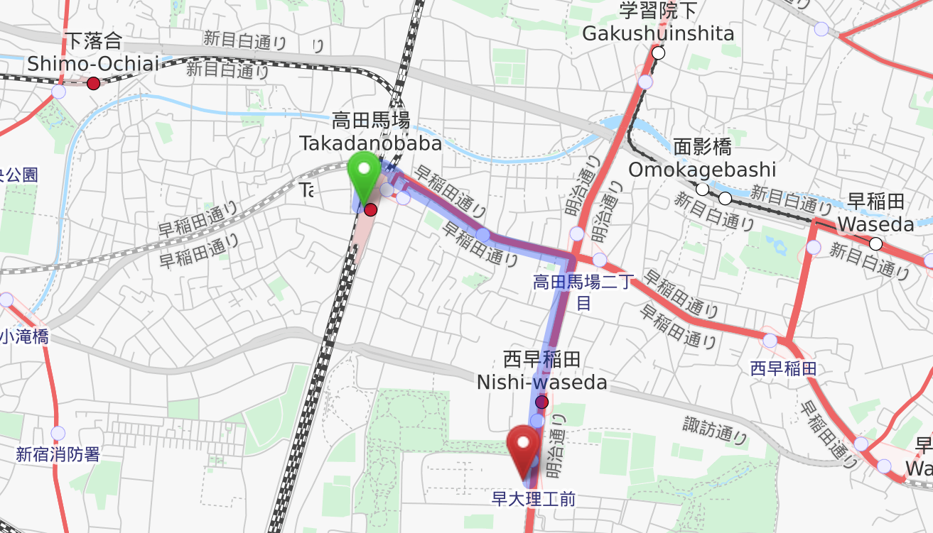Access from Takadanobaba Station